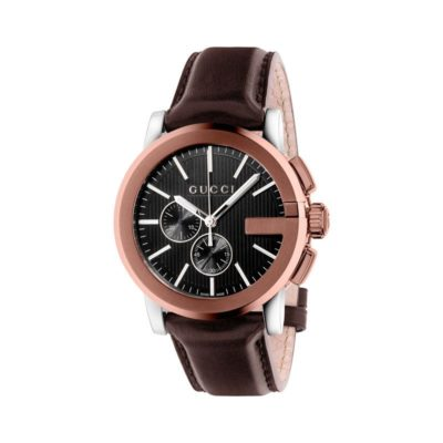 steel and brown pvd case/black dial/brown leather strap