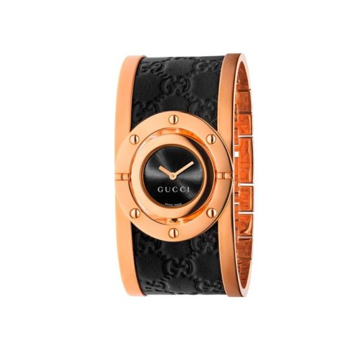 pink gold pvd case/black sun-brushed dial/pink gold pvd and black guccissima leather bangle