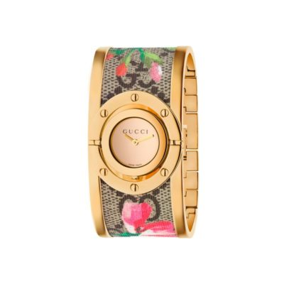 yellow gold pvd case / yellow gold mirror dial / yellow gold pvd and gg supreme canvas bangle with pink blooms print