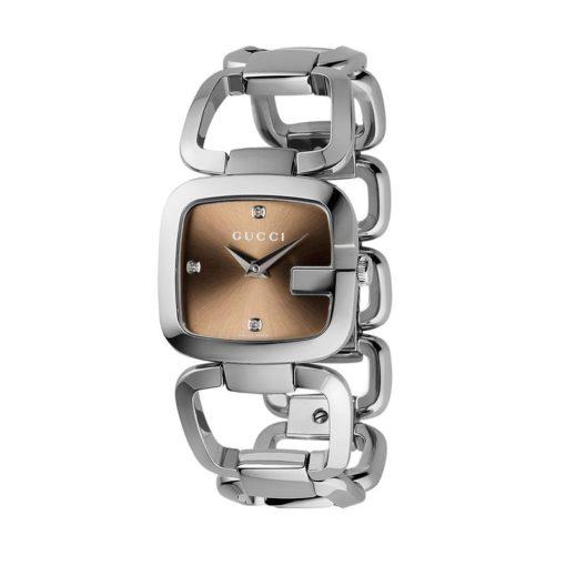 steel case / brown sun-brushed dial with 3 diamonds / steel bracelet