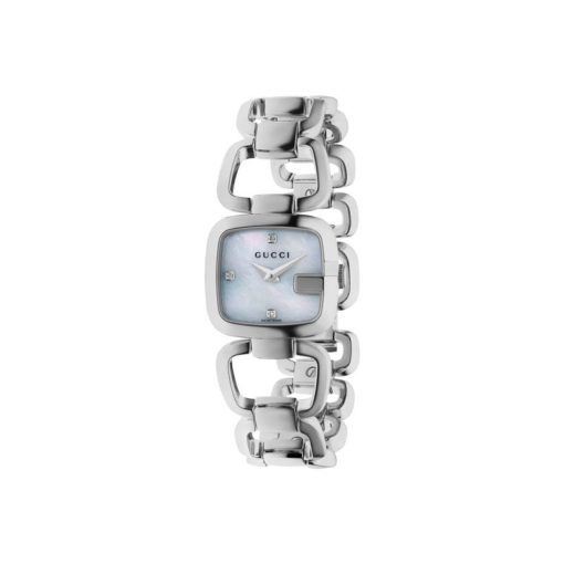 steel case / white mother of pearl dial with 3 diamonds / steel bracelet