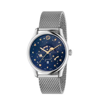 steel case / deep blue guilloché dial /steel mesh bracelet / planet motifs / gold stars