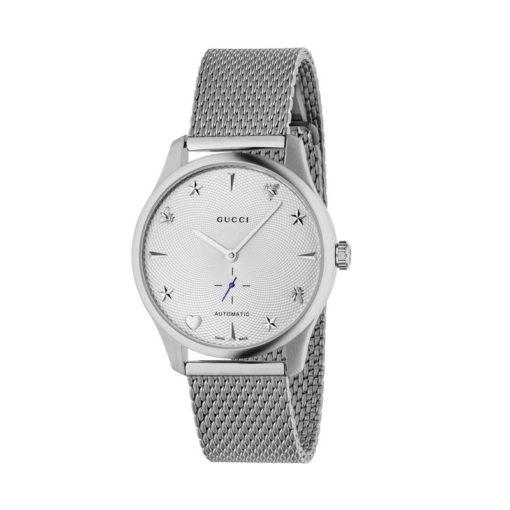 steel case / silver guilloché dial /steel mesh bracelet