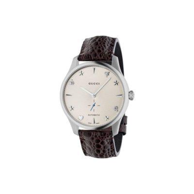 steel case / silver guilloché dial / dark brown leather strap