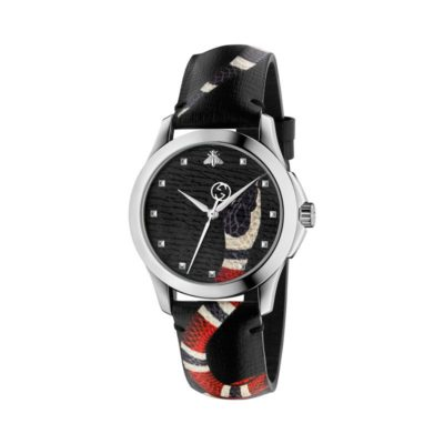 126 md / steel case / black leather dial / printed snake head / black leather strap / printed snake body