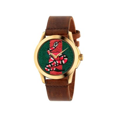 126 md / yellow gold pvd / green-red-green web nylon dial / embroidered snake / brown leather strap