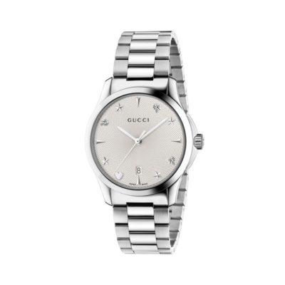 steel case / silver guilloché dial / hour motifs / steel bracelet