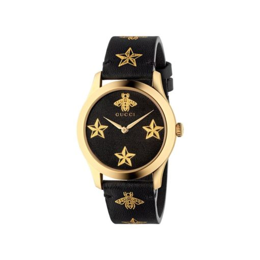 gold pvd case / black leather dial with golden stars and bee / black leather strap with golden stars and bees