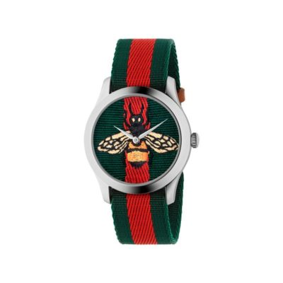 steel case / Bee dial and Green - Red - Green band / Green - Red - Green nylon strap