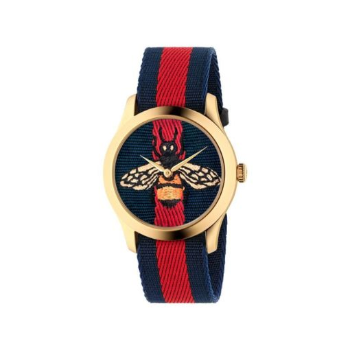 gold pvd case / Bee dial and Blue - Red - Blue band / Blue - Red - Blue nylon strap