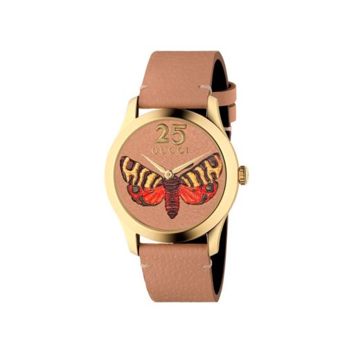 gold pvd case / brown leather dial with Butterfly motiv / brown leather strap