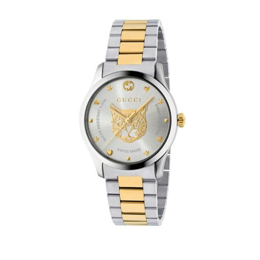 steel case / silver dial with yellow gold pvd feline motiv / steel and yellow gold pvd mesh strap