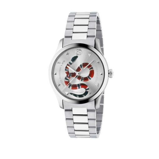 steel case / silver dial with coral snake motiv / steel mesh strap