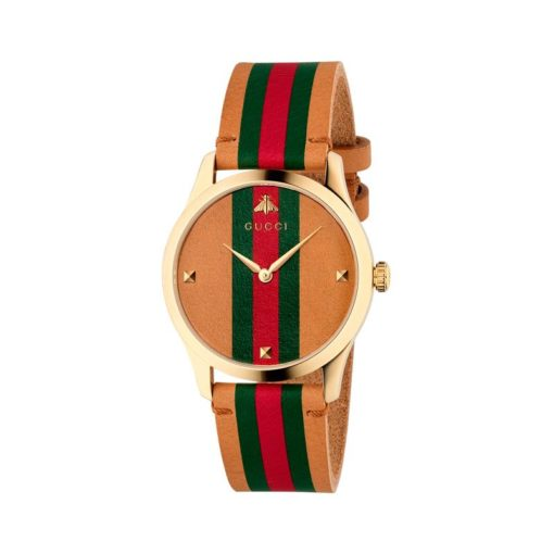 gold pvd case / brown leather dial with green - red - green motiv / brown leather strap with green - red - green motiv