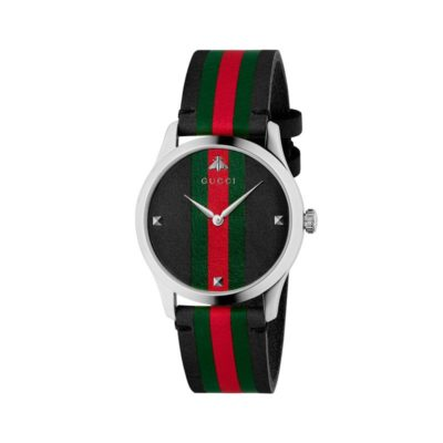 steel case / black leather dial with green - red - green motiv / black leather strap with green - red - green motiv