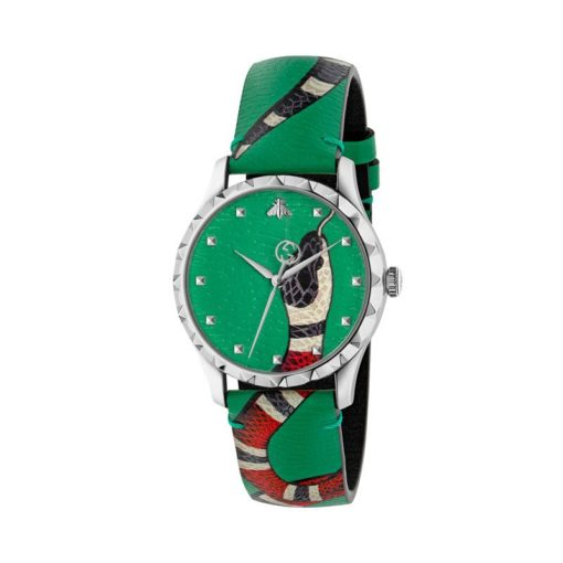 steel case / green leather dial with snake motiv / green leather strap with snake motiv