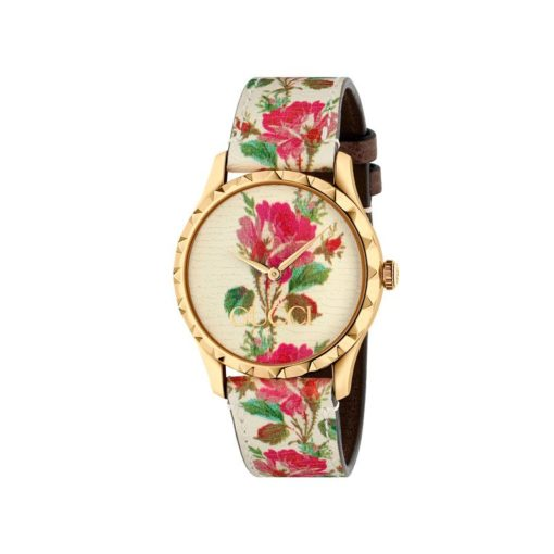 gold pvd case/ bezel with studs/ beige leather dial and strap with flowers print