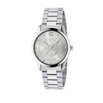 steel case / silver dial with silver feline motiv / steel mesh strap