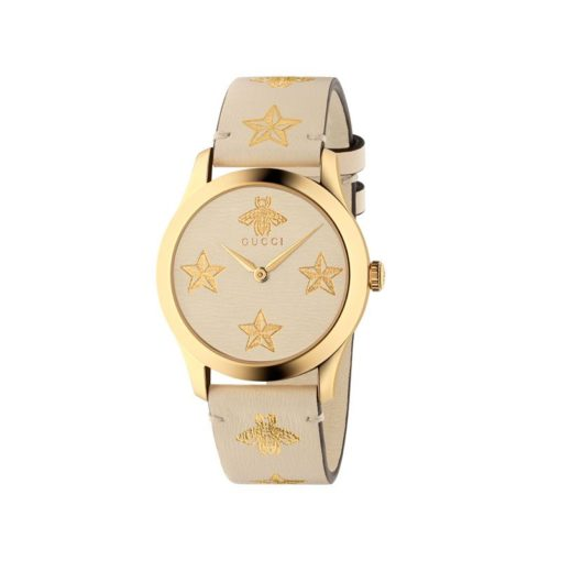 yellow gold PVD case / white leather dial / gold bee & stars / white leather strap with gold bees and stars