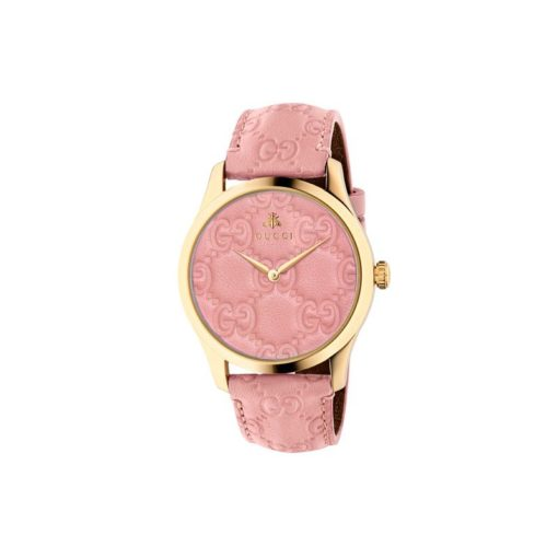 yellow gold PVD case / pastel pink / gucci signature leather dial / gucci signature leather strap