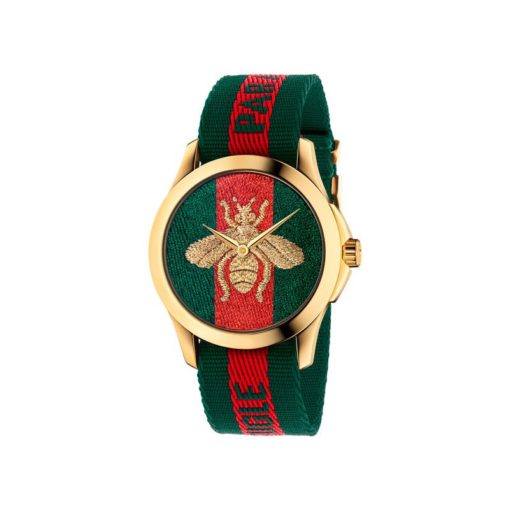"""126 md /yellow gold pvd / green-red-green web nylon dial / embroidered gold bee / green-red-green web nylon strap / """"L'Aveugle par Amour"""""""