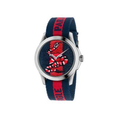 """126 md / steel case / blue-red-blue web nylon dial / embroidered snake / blue-red-blue web nylon strap / """"L'Aveugle par Amour"""""""