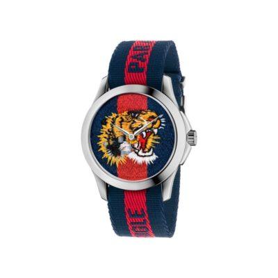 """126 md / steel case / blue-red-blue web nylon dial / embroidered tiger head / blue-red-blue web nylon strap / """"L'Aveugle par Amour"""""""