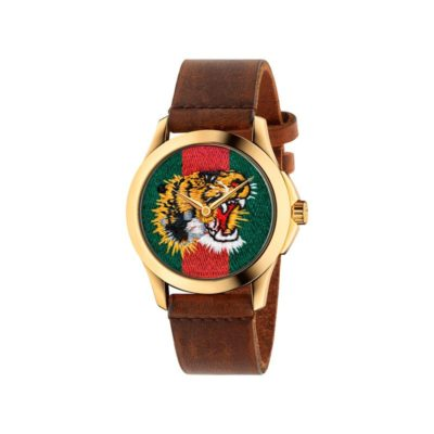 126 md / yellow gold pvd / green-red-green web nylon dial / embroidered tiger head / brown leather strap