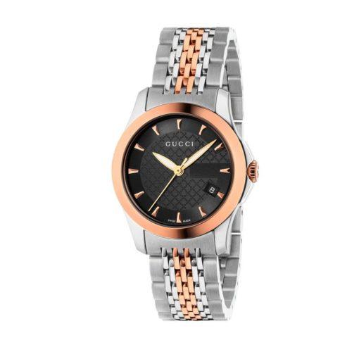 steel case / pink gold pvd bezel / black diamond pattern dial / steel and pink gold pvd bracelet