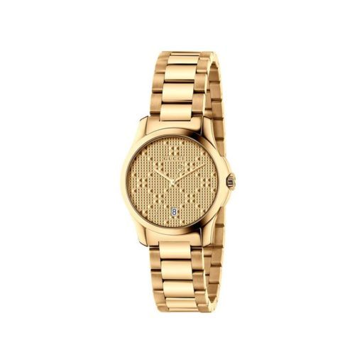 gold pvd case/gold colored dial/gold pvd bracelet