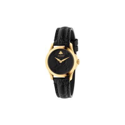 yellow gold pvd case / black gucci signature leather dial / black gucci signature leather strap