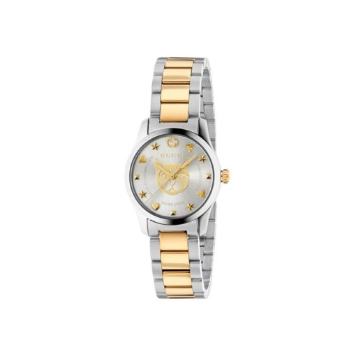 steel case / silver dial with yellow gold pvd feline motiv / steel and yellow gold pvd mesh strap / small
