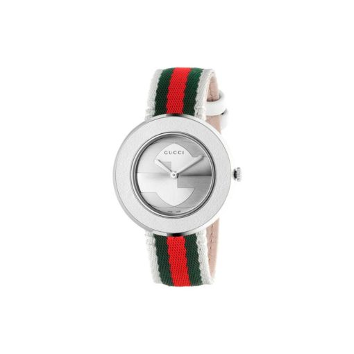 steel case / white leather bezel / silver dial / green-red-green web and white nylon strap