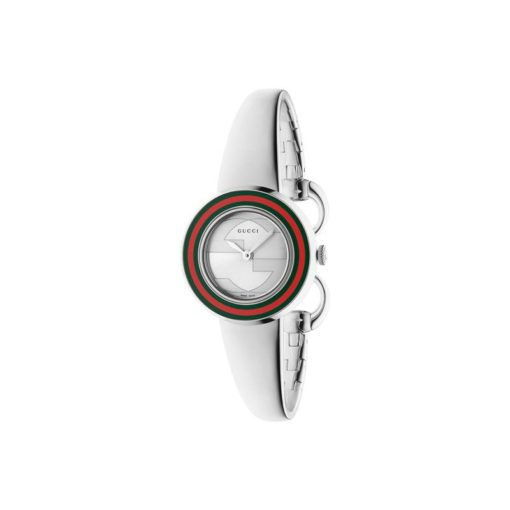steel case / green-red-green web bezel / silver dial / stainless steel bangle