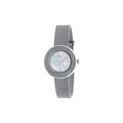 steel case / mesh motive bezel / mother of pearl dial with 3 diamonds / steel mesh bracelet