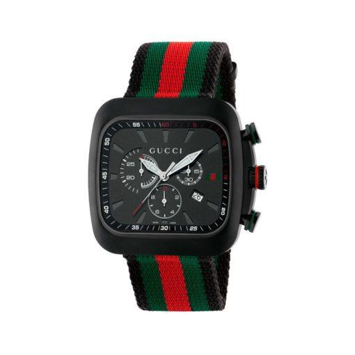 black pvd case / black guilloché dial / black and green-red-green web nylon strap