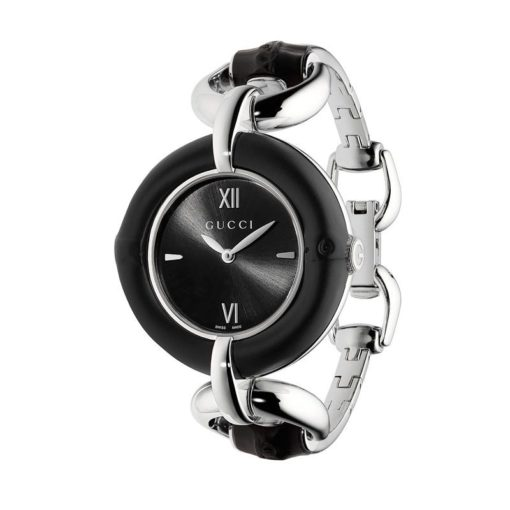 steel case black bamboo / black sun-brushed dial / steel bangle with black bamboo