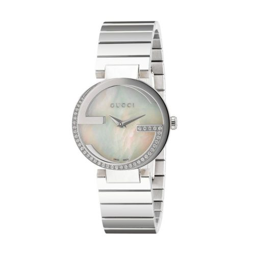 steel case with 40 diamonds / white mother of pearl dial / steel bracelet