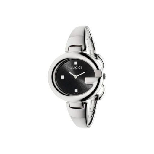 steel case / black sun-brushed dial / steel bangle