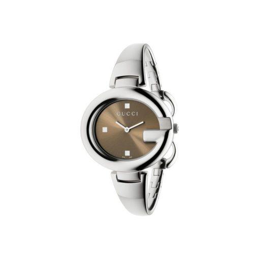 steel case / brown sun-brushed dial / steel bangle