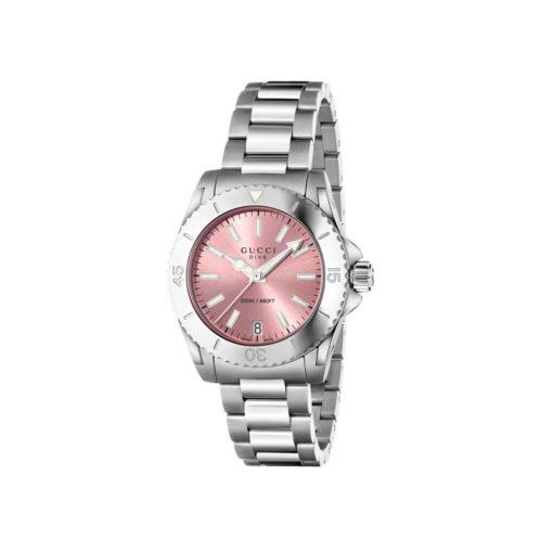 steel case/md/pink dial/steel bracelet