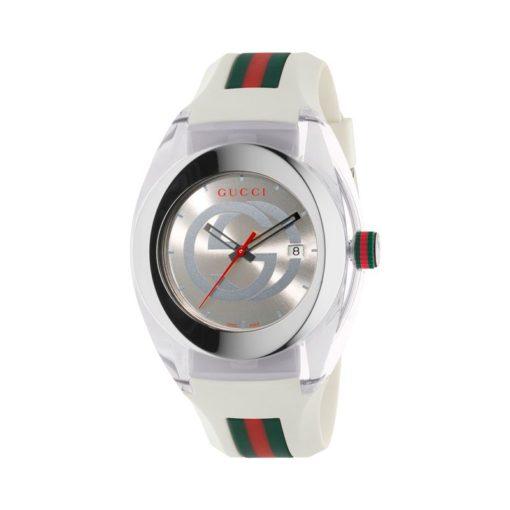 137 xxl/ steel & cream nylon case / silver gg dial / cream rubber strap / green-red-green