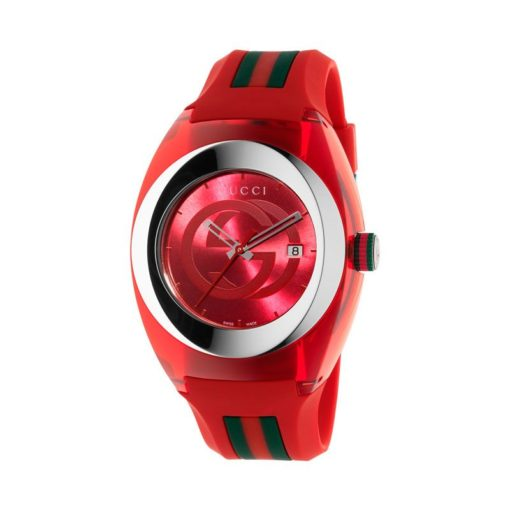 137 xxl/ steel & red nylon case / red gg dial / red rubber strap / green-red-green