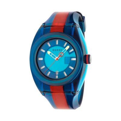 137 xxl transparent blue-red-blue nylon case / blue super luminous dial / transparent blue-red-blue rubber strap