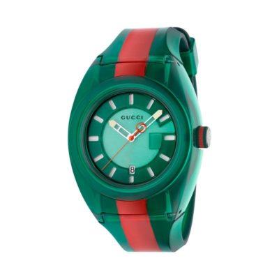 137 xxl transparent green-red-green nylon case / green super luminous dial / transparent green-red-green rubber strap