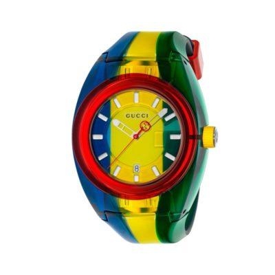 137 xxl transparent blue-yellow-green nylon case / blue-yellow-green super luminous dial / transparent blue-yellow-green rubber strap