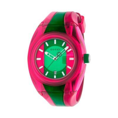 137 xxl transparent pink-green-pink nylon case / pink-green-pink super luminous dial / transparent pink-green-pink rubber strap