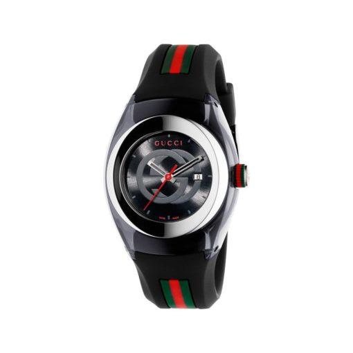 137 lg/ steel & black nylon case / black gg dial / black rubber strap / green-red-green