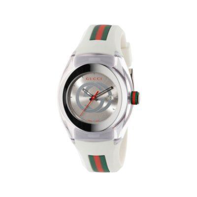 137 lg/ steel & cream nylon case / silver gg dial / cream rubber strap / green-red-green