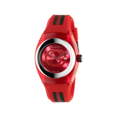 137 lg/ steel & red nylon case / red gg dial / red rubber strap / green-red-green